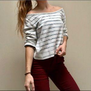 White & grey Hollister sweater crop top